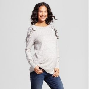 Maternity Heather Gray Ruffle Pullover Sweater